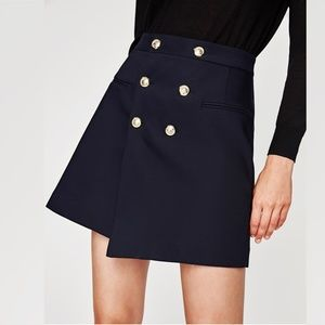 Zara Basic Collection Skirt Navy Gold Tone Buttons
